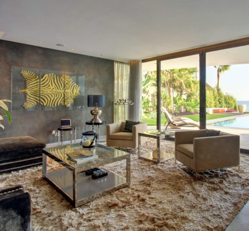 Resale property and a luxury living room of a stylish and contemporary designed villa